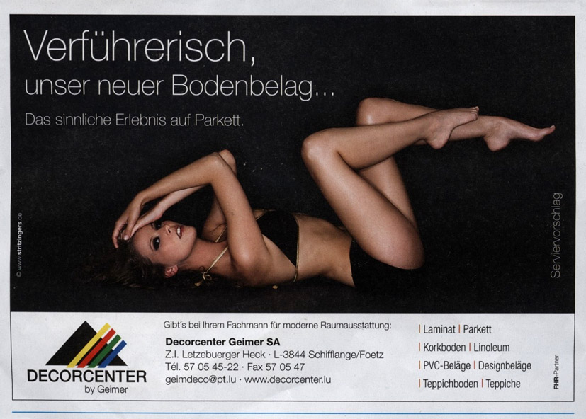 pub-decorcenter, Sexistische Werbung, Sexismus, sexistisch, Sexualisierung, Objektivierung